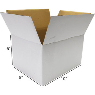 089ad2ebc4c Buy EZELLOHUB White Packaging Corrugated 10 x 8 x 6 inch 3 Ply Pack of 25  Boxes for Moving Shipping Storage Heavy Duty use Online - Get 26% Off