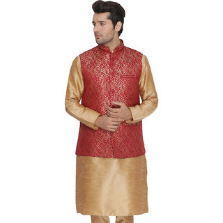 Vastramay Men Maroon Cotton Silk Modi Nehru Jacket