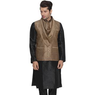 Vastramay Men Brown Cotton Silk Modi Nehru Jacket