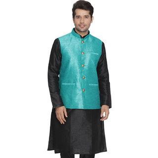 Vastramay Men Blue Cotton Silk Modi Nehru Jacket