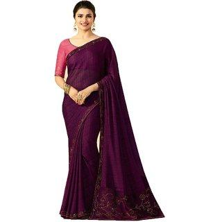 Genius Creation Bollywood Designer Purple Colour Stone Work Saree With Blouse Piece