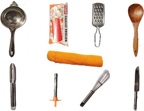 Kitchen Combo of Knife, Peeler, Lighter, Whisker, Tea Strainer and Other Kitchen Accessories