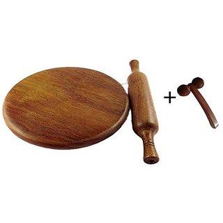 Desi Karigar Wooden Chakla Belan Rolling Pin Kitchen Utensils (Brown) With Free Face Massager