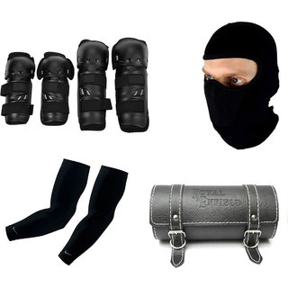 Spidy Moto Motorcycle Riding Knee and Elbow Guard,.Balaclava Face Mask,Arm Sleeve for Protection,Round Saddle Bag Combo