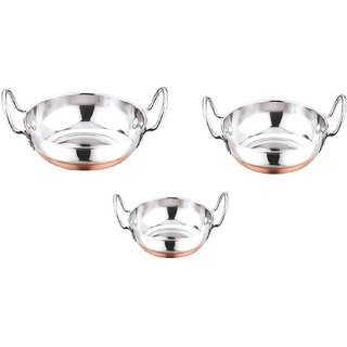 3 PC KADHAI SET SIZE ( 0 TO 2 ) WITH SIDE HANDLES