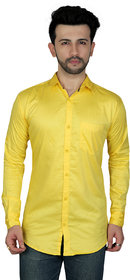 TODAY FASHION Yellow Formal Cotton Shirt For Men's