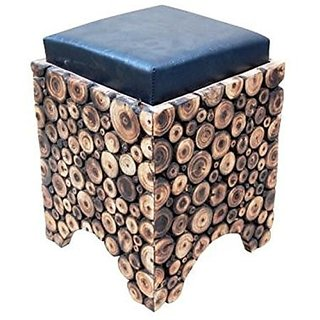 Shilpi Wooden Stool/Chair With Storage Made From Natural Wood Blocks