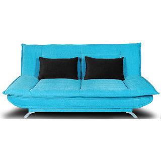 houzzcraft iris sofa cum bed in turquoise blue