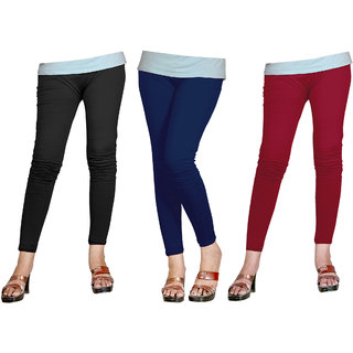 Naisargee Women's and Girl's Maroon-LightNavyBlue-Black Cotton Ankle Length Combo Leggings -(Free Size - Pack of 3)