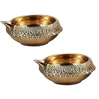Decorative Brass Kuber Diya - 7 cms by 2 cms - Authentic look - SET of 2
