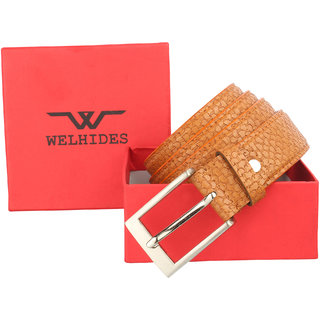 WELHIDES Men's Black Genuine Leather Belt (WBL-04CHM-01, Black)