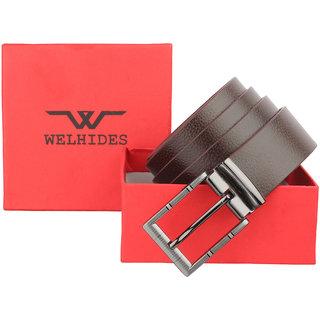 WELHIDES Men's Black Genuine Leather Belt (WBL-04FRM-01, Black)