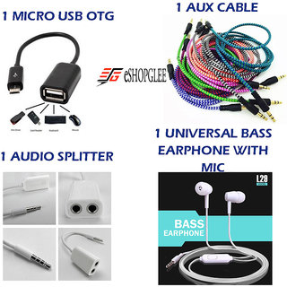 Combo of 4 in 1 Mobile Accessories  (1 micro USB OTG + 1 Aux Cable + 1 Audio splitter + 1 Earphone with MIC)