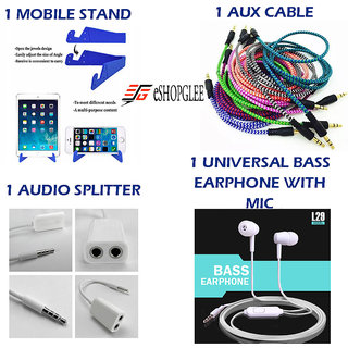 Combo of 4 in 1 Mobile Accessories  (1 Mobile Stand + 1 Aux Cable + 1 Audio splitter + 1 Earphone with MIC)