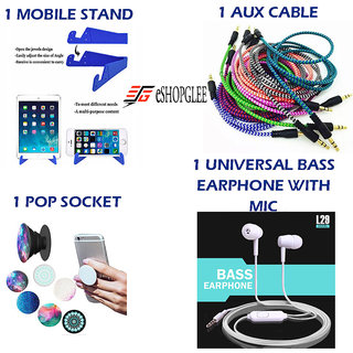 Combo of 4 in 1 Mobile Accessories  (1 Mobile Stand + 1 Aux Cable + 1 Pop Socket + 1 Earphone with MIC)