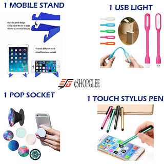 Combo of 4 in 1 Mobile Accessories  (1 Mobile Stand + 1 USB Light + 1 Pop Socket + 1 Touch Stylus Pen)