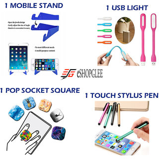 Combo of 4 in 1 Mobile Accessories  (1 Mobile Stand + 1 USB Light + 1 Pop Socket Square + 1 Touch Stylus Pen)