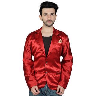 TODAY FASHION Maroon Satin Blazer For Men's