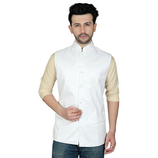 TODAY FASHION White Ethnic Cotton Modi Jacket For Men's