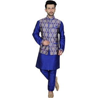 TODAY FASHION Blue Sherwani Set With Jacket For Men's