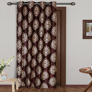 ARADENT Semi Sheer Grommets Window Treatment Curtain Single Panel for Bedroom( Qty 1 Panel Size 48X60 Inches Each Panel Color Brown Material Polyester)