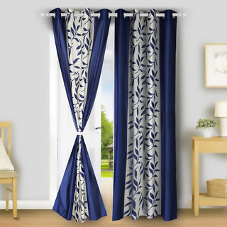 ARADENT Semi Sheer Grommets Window Treatment Curtain Single Panel for Bedroom( Qty 1 Panel Size 48X60 Inches Each Panel Color Blue Material Polyester)