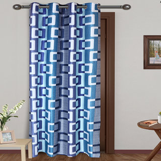 ARADENT Semi Sheer Grommets Door Curtain Panel for Bedroom( Qty 1 Door Panel Size 48X84 Inches Color Blue Material Polyester)