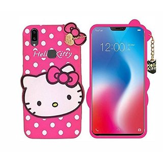 STUDOZ Cute Hello Kitty Silicone with Pendant Back Case Cover for Vivo V5 Pink