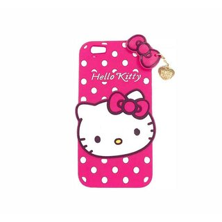 STUDOZ Cute Hello Kitty Silicone with Pendant Back Case Cover for Oppo A71 Pink