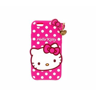 STUDOZ Cute Hello Kitty Silicone with Pendant Back Case Cover for Oppo A83 Pink