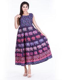 Dhruvi's Western Wear Long Maxi Dress in Elegant Print & Design (Purple, Free Size)