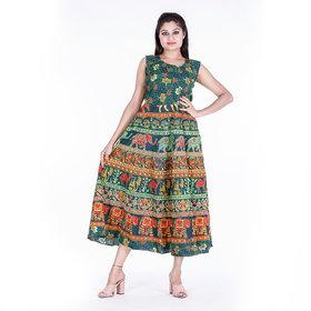 Dhruvi's Western Wear Long Maxi Dress in Elegant Print & Design ( Green, Free Size)