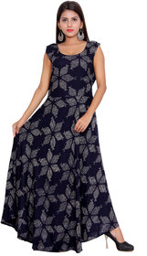 Dhruvi's Western Wear Long Maxi Dress in Elegant Print & Design (Blue, Free Size)
