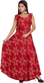Dhruvi's Western Wear Cotton Long Maxi Dress in Elegant Print & Design (Red, Free Size)