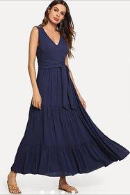 Code Yellow Women's Navy Blue Long Belted Dress