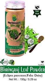 HerbtoniQ 100 Natural Bhringraj Leaf Powder 150g (Eclipta Prostrate/false Daisy) For Hair Pack (Pack of 1,150 g)