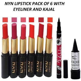 NYN lipsticks pack of 6 with Eyeliner  Kajal