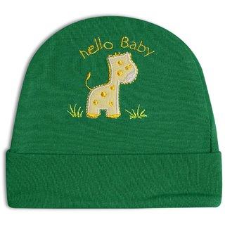 Tumble Green Giraffe Patch Baby Round Cap (3-9 Months)