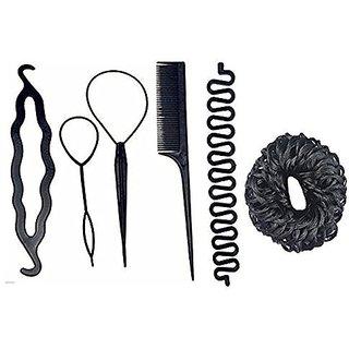 Gulzar  Hair Accessories Juda Bands, Braids Tools, Comb, Bun Maker For Girls (Combo of 6 Tools)