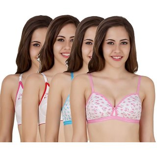 f75ae8f53b Buy Pack Of 4 Printed Bra (Print and Design May Vary) Online - Get ...