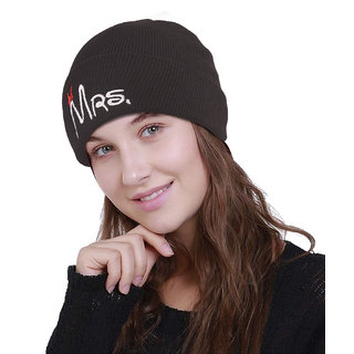 Buy DRUNKEN Women s Winter Cap Woolen Plain Knit Beanie Cap Black Freesize  Warm Cap Online - Get 61% Off b4d4760ef64