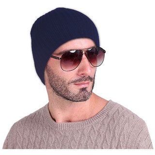 DRUNKEN Men's Winter Cap Woolen Plain Beanie Cap Blue Freesize Warm Cap