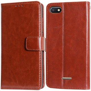 online retailer 40652 2a4e5 Redmi 6A Leather Flip Cover Brown