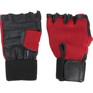 Aroraonlinetraders Heavy Leather Netted With Wrist Support Gym  Fitness Gloves (M, Red)