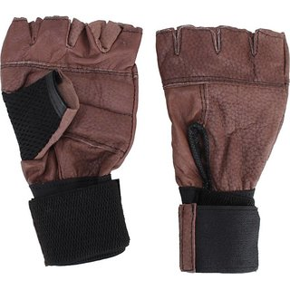 aroraonlinetraders Leather Gym Gloves with Wrist Supports Gym  Fitness Gloves (Free Size, Brown)
