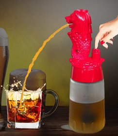 Barraid Singapore Lion Liquor Dispenser Round Shape 500 ML Capacity (Red)