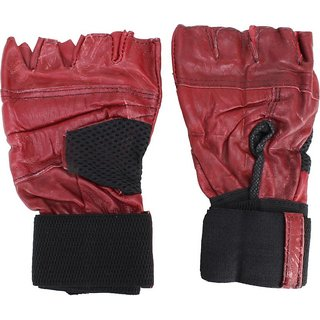 aroraonlinetraders Leather Gym Gloves with Wrist Supports Gym  Fitness Gloves (Free Size, Maroon)