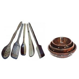 Desi Karigar Handicrafts Wooden Bowl Set Of 3, Spoon Set of 5  1 Frying, 1 Serving, 1 Spatula, 1 Chapati Spoon, 1 Deser
