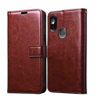 Redmi 6 pro Leather Flip Cover Brown