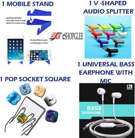 Combo Of 4 In 1 Mobile Accessories (1 Mobile Stand + 1